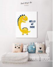 Hello My Dude Dinosaur Nursery Canvas Wall Art - Image 3