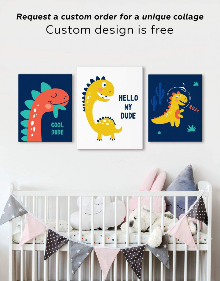 Hello My Dude Dinosaur Nursery Canvas Wall Art - Image 5