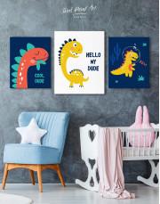Hello My Dude Dinosaur Nursery Canvas Wall Art - Image 4