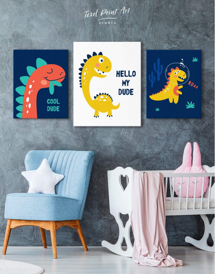 Hello My Dude Dinosaur Nursery Canvas Wall Art - Image 4