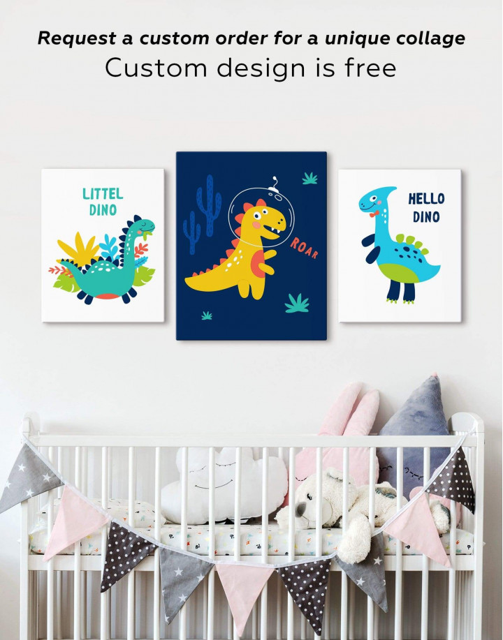 Roar Dino Nursery Canvas Wall Art - Image 2