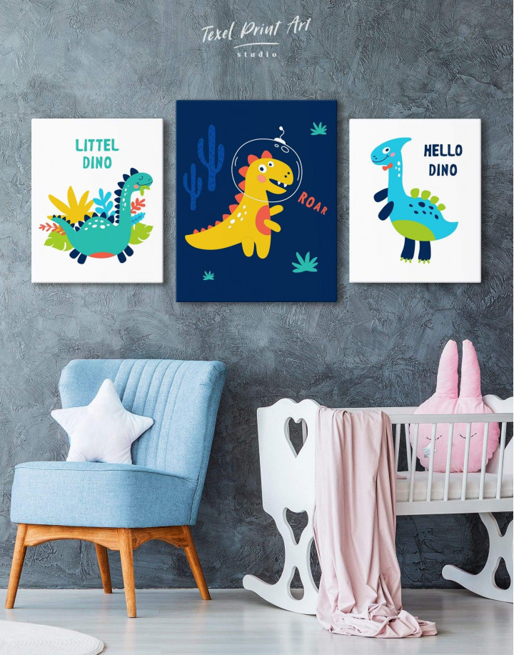 Roar Dino Nursery Canvas Wall Art - Image 3