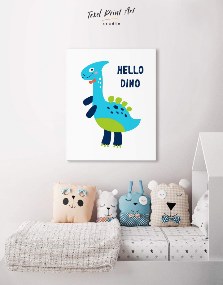 Hello Baby Dino Nursery Canvas Wall Art - Image 3