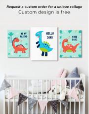 Hello Baby Dino Nursery Canvas Wall Art - Image 5
