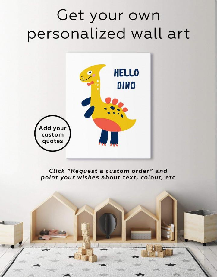 Hello Baby Dino Nursery Canvas Wall Art - Image 6