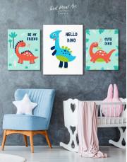 Hello Baby Dino Nursery Canvas Wall Art - Image 4