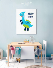 Hello Baby Dino Nursery Canvas Wall Art - Image 2