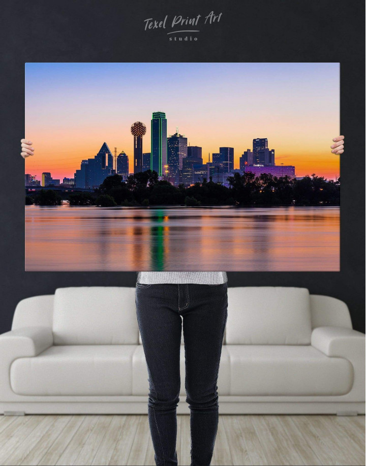 Silhouette Dallas Skyline Canvas Wall Art - Image 2