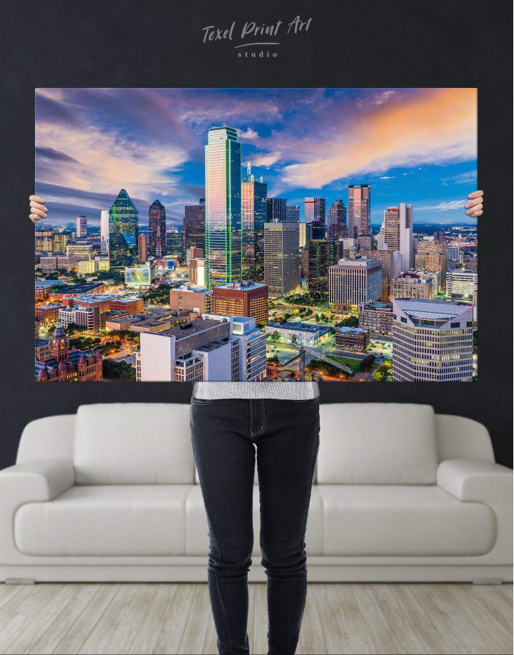 Dallas Texas Skyline View Canvas Wall Art - Image 4