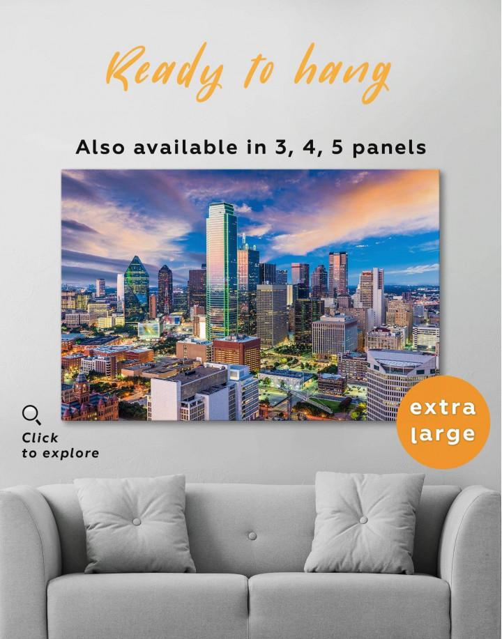 Dallas Texas Skyline View Canvas Wall Art - Image 0