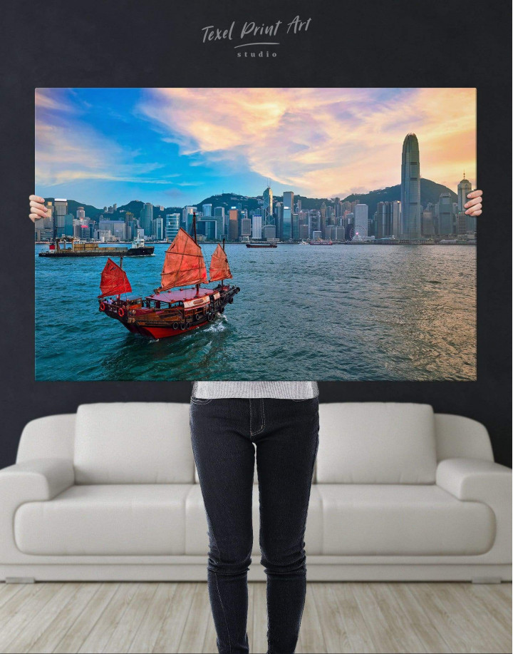 Hong Kong Skyline Canvas Wall Art - Image 4