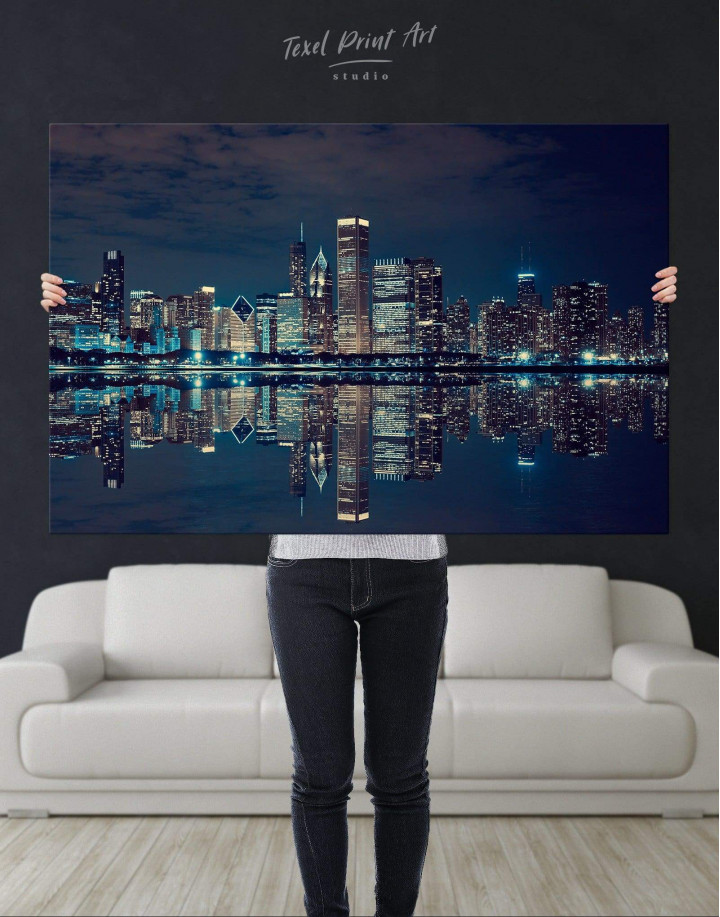Chicago Skyline at Night Canvas Wall Art - Image 4