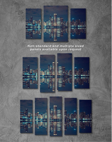 Chicago Skyline at Night Canvas Wall Art - image 2