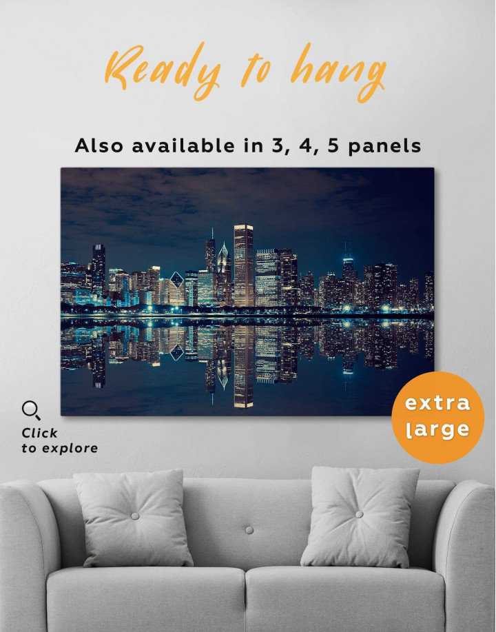 Chicago Skyline at Night Canvas Wall Art - Image 0