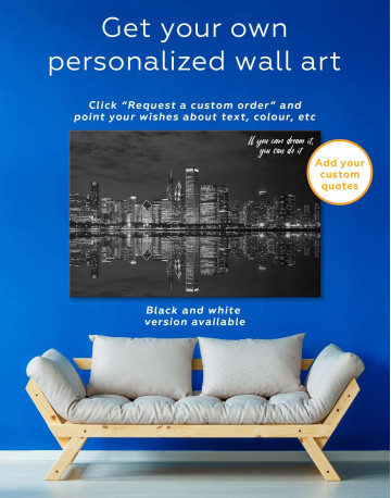 Chicago Skyline at Night Canvas Wall Art - image 1