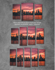 Chicago Silhouette Skyline at Night Canvas Wall Art - Image 2