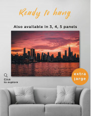 Chicago Silhouette Skyline at Night Canvas Wall Art