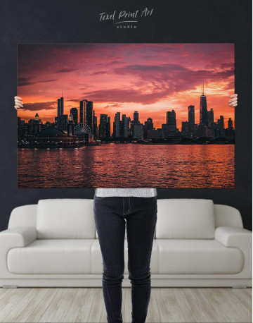 Chicago Silhouette Skyline at Night Canvas Wall Art - image 4