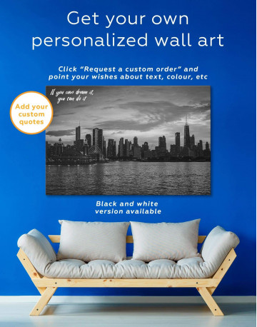 Chicago Silhouette Skyline at Night Canvas Wall Art - image 1