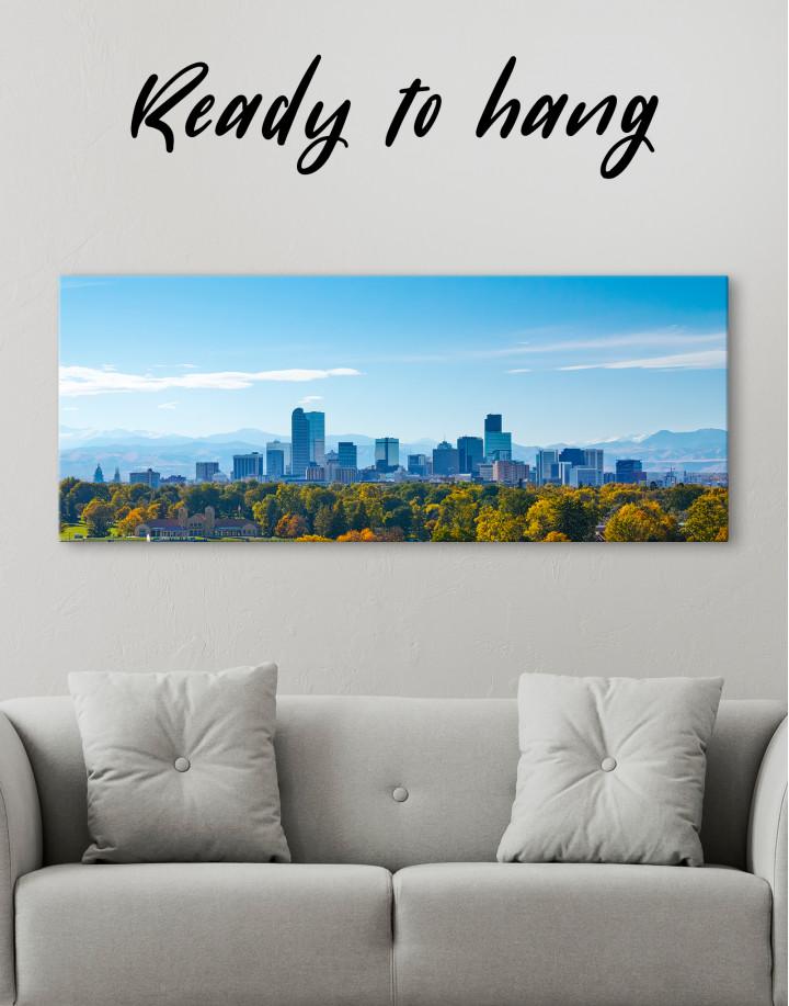Panoramic Denver Skyline Canvas Wall Art - Image 3