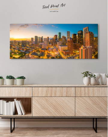 Panoramic Houston Texas Canvas Wall Art - image 3