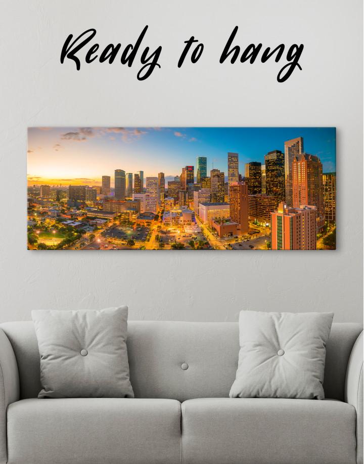 Panoramic Houston Texas Canvas Wall Art
