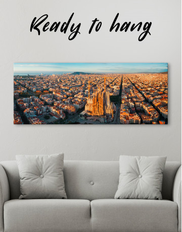 Panoramic Barcelona Skyline with Sagrada Familia Canvas Wall Art