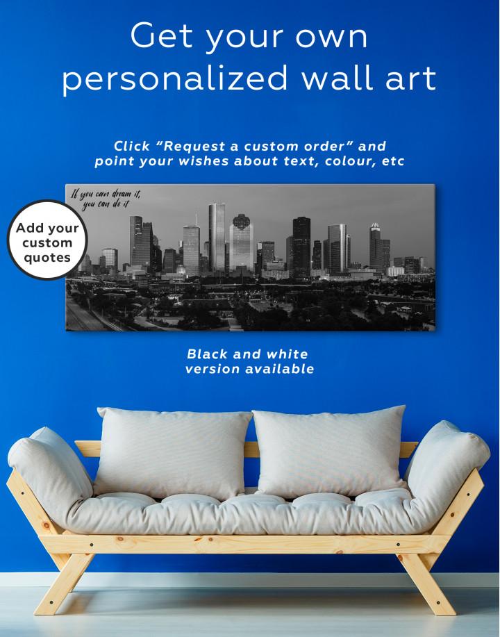 Panoramic Houston Cityscape Canvas Wall Art - Image 2