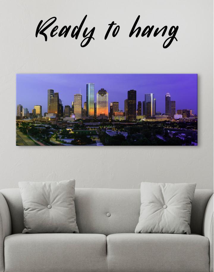 Panoramic Houston Cityscape Canvas Wall Art