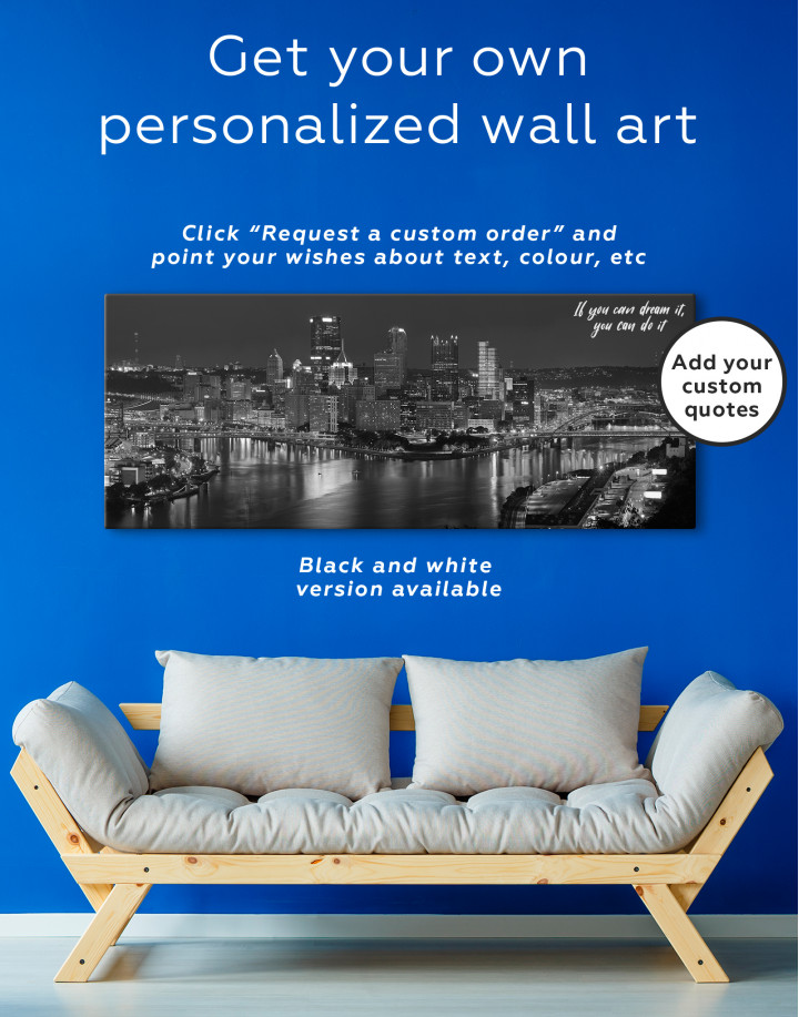 Panoramic Pittsburgh Pennsylvania Skyline Canvas Wall Art - Image 2