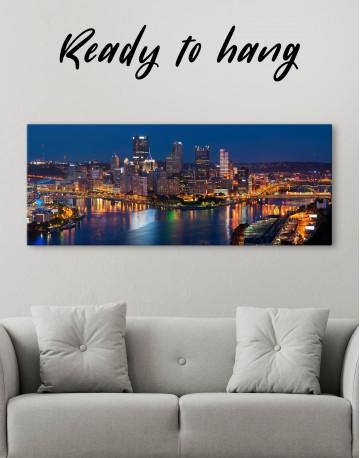 Panoramic Pittsburgh Pennsylvania Skyline Canvas Wall Art
