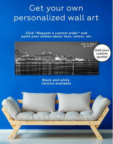 Night Panoramic Liverpool Cityscape Canvas Wall Art - image 2