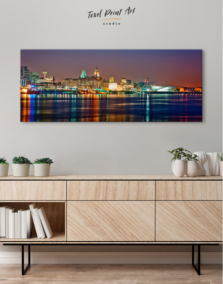 Night Panoramic Liverpool Cityscape Canvas Wall Art - Image 4
