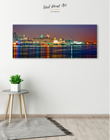 Night Panoramic Liverpool Cityscape Canvas Wall Art - image 1
