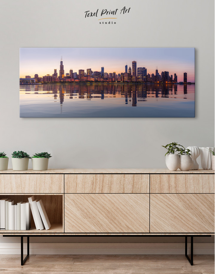 Panoramic Chicago View from Northerly Island Canvas Wall Art - Image 4
