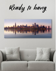 Panoramic Chicago View from Northerly Island Canvas Wall Art