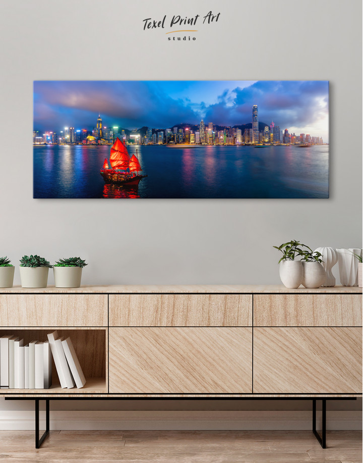Panoramic Hong Kong Skyline Canvas Wall Art - Image 1