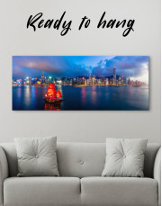 Panoramic Hong Kong Skyline Canvas Wall Art