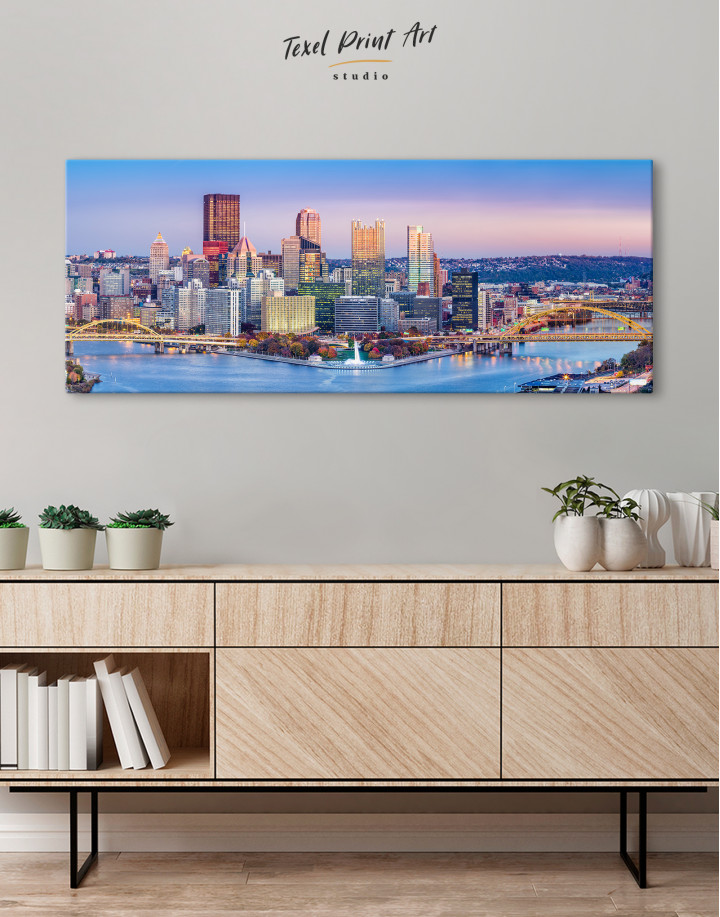 Panoramic Pittsburgh Cityscape Canvas Wall Art - Image 4