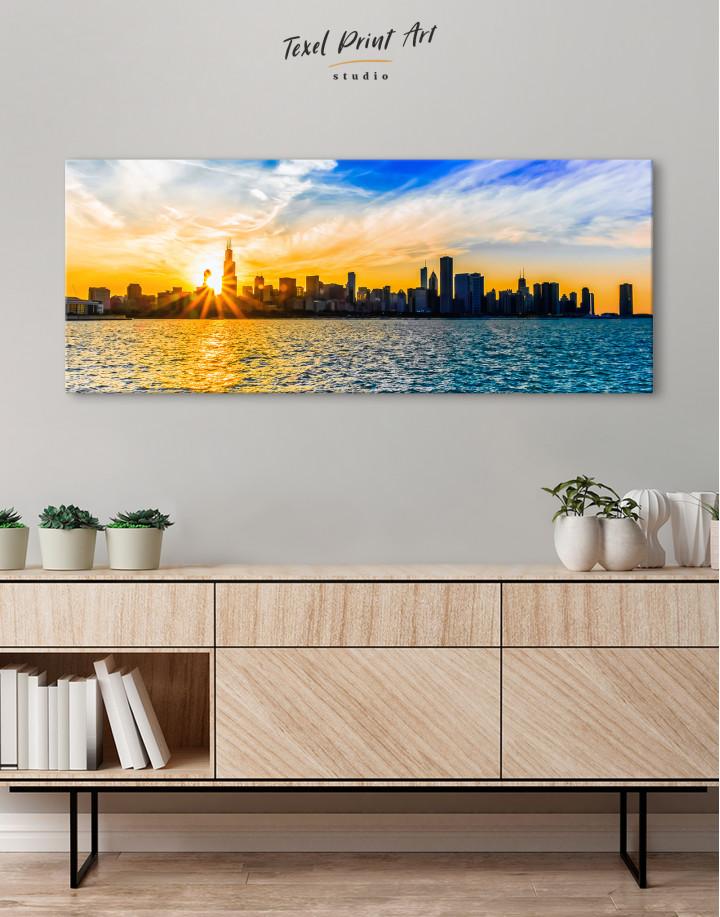 Panoramic Chicago Skyline Canvas Wall Art - Image 2