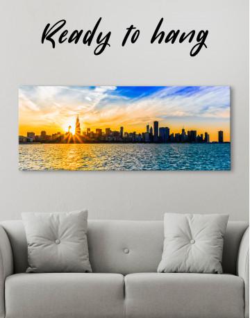 Panoramic Chicago Skyline Canvas Wall Art