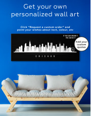 Panoramic Chicago Silhouette Canvas Wall Art - Image 2
