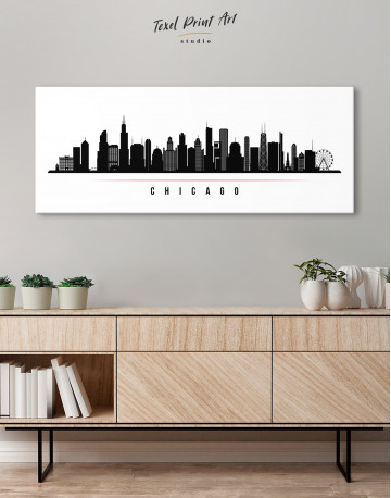 Panoramic Chicago Silhouette Canvas Wall Art