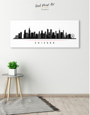 Panoramic Chicago Silhouette Canvas Wall Art - Image 4