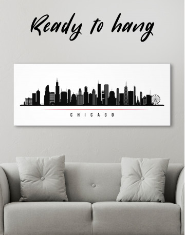 Panoramic Chicago Silhouette Canvas Wall Art - image 1