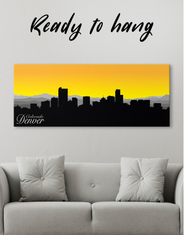 Panoramic Colorado Denver Silhouette Canvas Wall Art