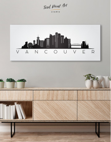 Black and White Vancouver Canvas Wall Art - image 1