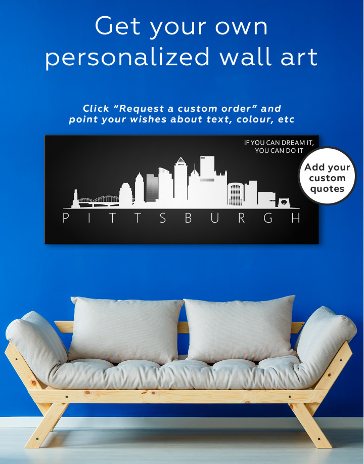 Black and White Pittsburgh Canvas Wall Art - Image 3