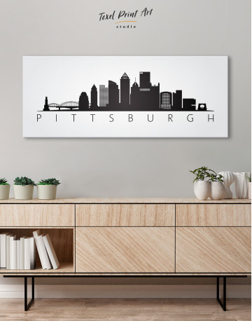 Black and White Pittsburgh Canvas Wall Art - image 1
