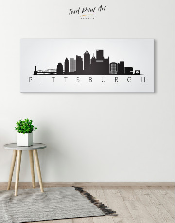 Black and White Pittsburgh Canvas Wall Art - image 4